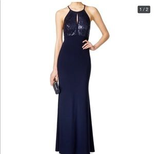 Navy blue evening gown